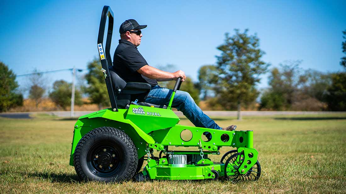 Electric Battery powered mower, the Mean Green Mowers company, 'Rival' in use.